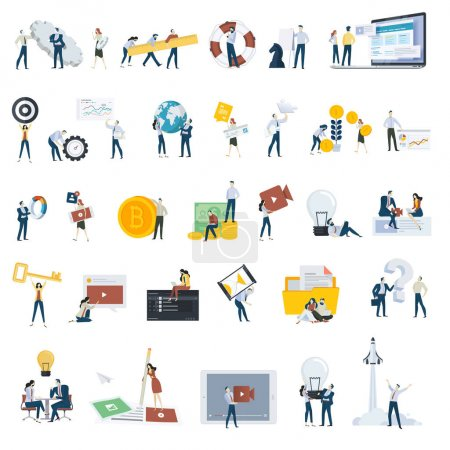 Illustration for Flat design people concept icons isolated on white. Set of vector illustrations for web and app design and development, seo, social media. - Royalty Free Image