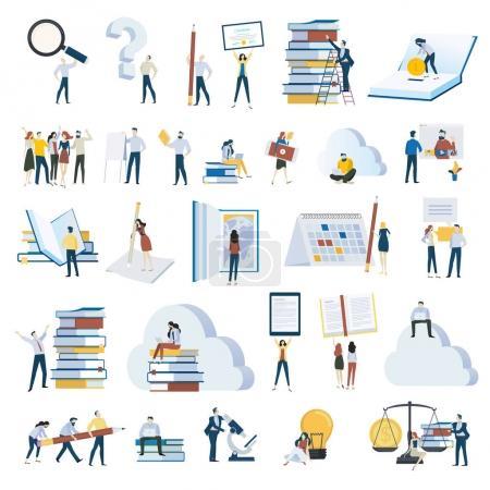 Illustration pour Flat design gens concept icônes isolées sur blanc. Ensemble d'illustrations vectorielles pour l'éducation, l'apprentissage en ligne, la formation et les cours en ligne, l'application éducative et le cloud, les investissements dans l'éducation, la science, l'ebook . - image libre de droit