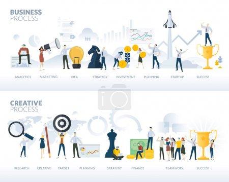 Illustration pour Ensemble de bannières web de design plat de processus d'affaires et de processus créatif, isolé sur blanc. Concepts d'illustration vectorielle pour le business plan, le démarrage, le processus de conception, le développement de produits, la créativité et l'innovation . - image libre de droit