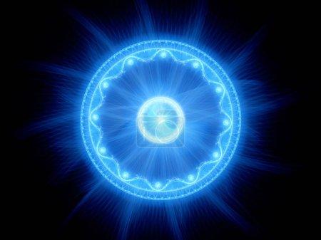 Niebieskie świecące magiczne tajemniczy Brama w przestrzeni