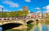 Maria Cristina Bridge over the Urumea river in San Sebastian, Spain