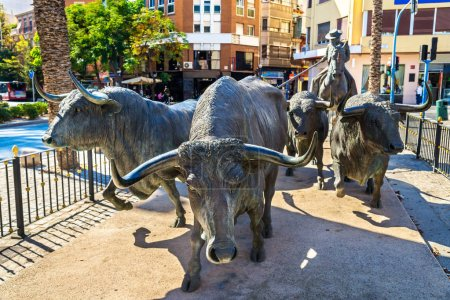 Statue of bulls near the