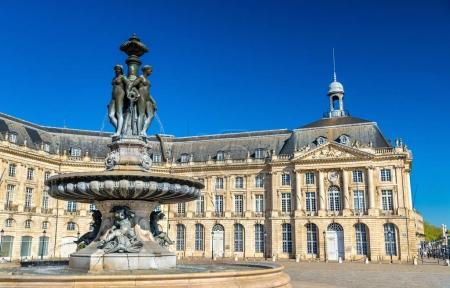 Fountain of the Three Graces at on the Place de la Bourse in Bordeaux, France