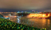 The Rainbow Bridge and Niagara Falls as seen from Canada