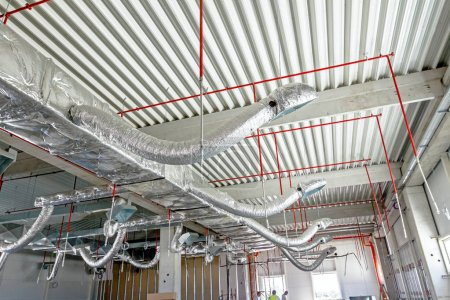 Flexible air conditioning and fire fighting system is placed on