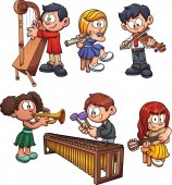 Kids playing musical instruments