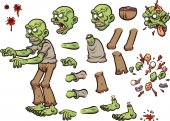 Cartoon zombie ready for animation Vector clip art illustration with simple gradients Each element on a separate layer