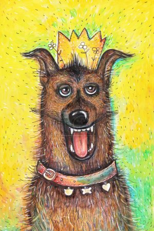 Portrait of the Queen's birthday dog on a yellow background