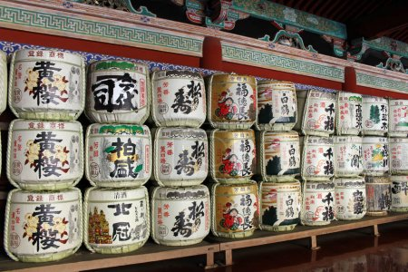 The drums or barrels of sake (Japanese alcoholic drinks), at Tos