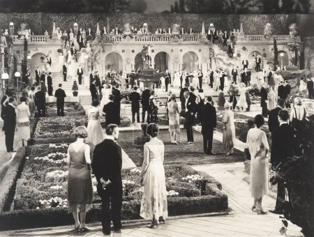Photo for People at party in formal garden - Royalty Free Image