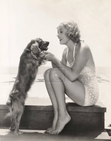 woman playing with Cocker Spaniel