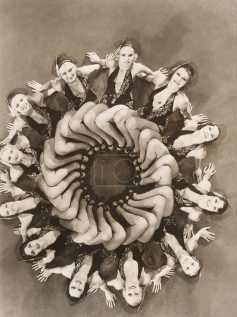 models forming circle with legs
