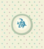 Card for decoration album with doodle blue fish in circle on polka dot background  vector illustration