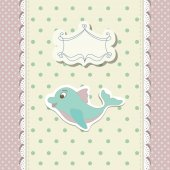 Card for decoration album with doodle dolphin on polka dot background  vector illustration