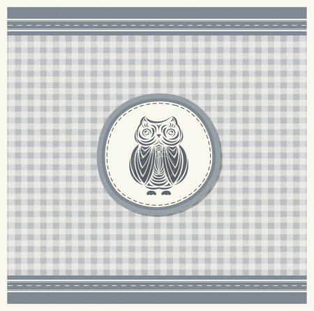 Illustration for Template for greeting card with owl. Vector illustration in vintage style - Royalty Free Image