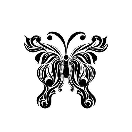 Black logotype of butterfly