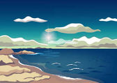Dawn on the rocky coast
