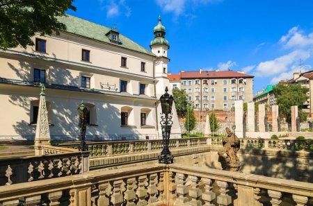 Church building (Na Skalce) in Krakow on sunny summer day, Poland
