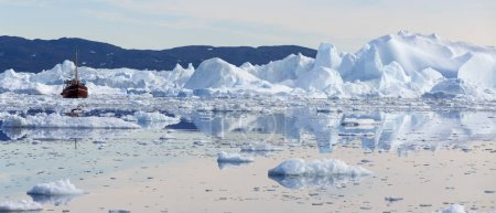 icebergs in cold water