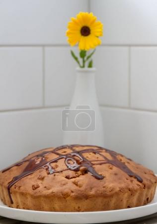 Homemade pie with flower