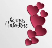be my valentine Hand drawn calligraphy and brush pen lettering with frame border of pink hearts
