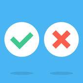 Vector flat design checkmarks icons set Creative graphic elements for web sites web banners printed materials infographics Green tick green check mark symbol and red cross sign white round icons