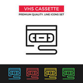 Vector VHS cassette icon Thin line icon