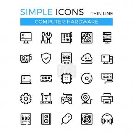 Computer hardware, PC parts and components vector thin line icons set. 32x32 px. Modern line graphic design for websites, web design, mobile app, infographics. Pixel perfect vector outline icons set