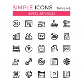 Hotel services and hotel facilities vector thin line icons set 32x32 px Modern line graphic design concepts for websites web design mobile app infographics Pixel perfect vector outline icons set