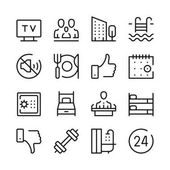 Hotel services and hotel amenities line icons set Modern graphic design concepts simple outline elements collection Vector line icons