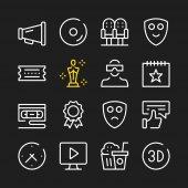 Cinema entertainment line icons Modern graphic elements simple outline thin line design symbols Vector icons set