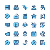 Movie theater cinema filmmaking line icons set Modern graphic design concepts simple symbols pictograms collection Minimal thin line design Premium quality Pixel perfect Vector outline icons