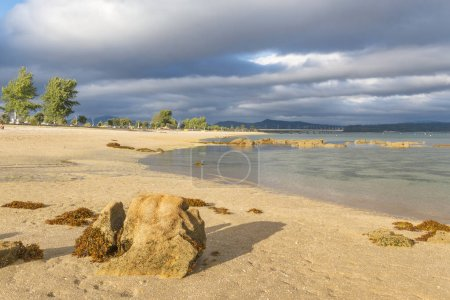 Bao beach with Arousa Island bridge at background