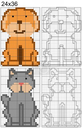 Kids grid copy game. Copy the picture by squares