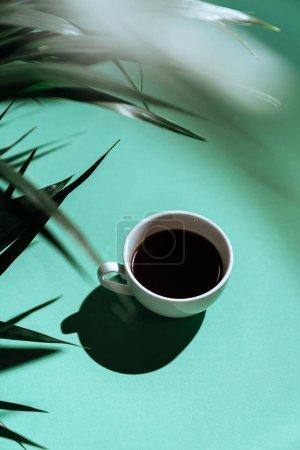 Photo pour Café matinal sur fond coloré et branches de palmier. Sur fond flou avec espace de copie. Une tasse de café sous un palmier. - image libre de droit