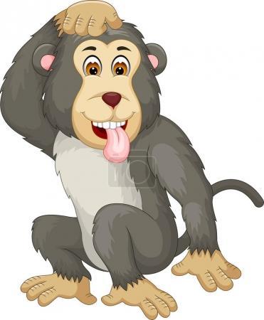 Photo pour Gorille mignon posant avec le rire - image libre de droit