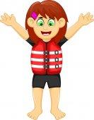 funny girl cartoon wearing life jacket