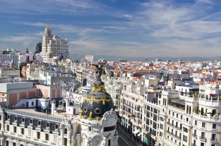 Aerial view of the Calle Gran Via in Madrid, Spain