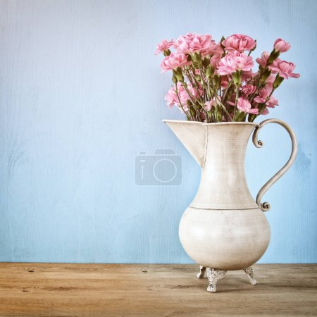 Bouquet of Carnation flowers in the vintage white ...