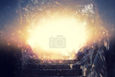 Abstract and surrealistic image of cave with light. revelation and open the door, Holy Bible story concept