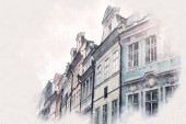 """Постер, картина, фотообои """"Архитектура в стиле эскиза изображает город со старыми красивыми домами"""""""