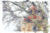 watercolor style and abstract illustration of ancient house and bare trees at winter