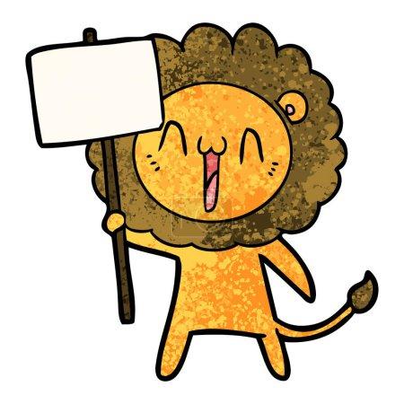 Vector illustration of happy cartoon lion...