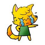 Sad little fox cartoon character...