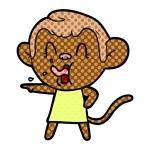 Crazy cartoon monkey in dress pointing...