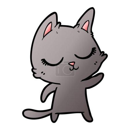 Vector illustration of calm cartoon cat...