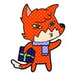 Vector illustration of clever cartoon fox...