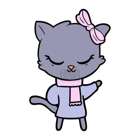 Cute cartoon cat with bow...