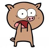 vector illustration of cartoon pig shouting