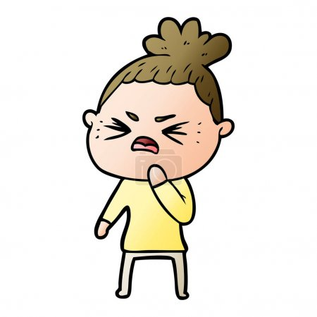 Vector illustration of cartoon angry woman...